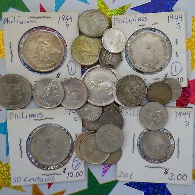 Coins ~ Philippines 1938-1964, 50, 25, 20, 10 and 5 Centavo Coins, Lot of 28