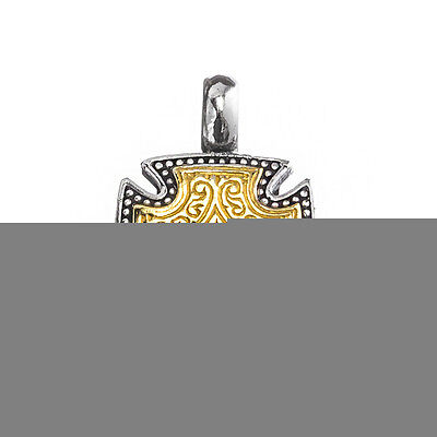 Gerochristo 5508N ~ Solid Gold & Sterling Silver Maltese Cross Pendant