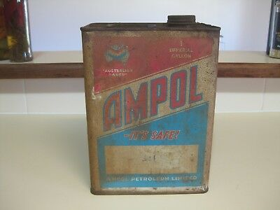 Ampol Chevron 1 gallon oil tin.