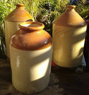 3 Antique Large Salt Glazed Beehive Domed Stoneware Cider Brewery Jar Flagon