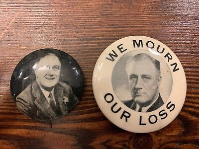 Two F.D. Roosevelt Political Pin Back Buttons/Badges