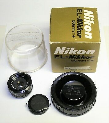 Nikon El Nikkor 50mm f4 Enlarging Lens with Bubble Case and Matching Numbers