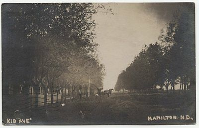 Kid Avenue 1909 Hamilton North Dakota RPPC, Pembina County real photo postcard