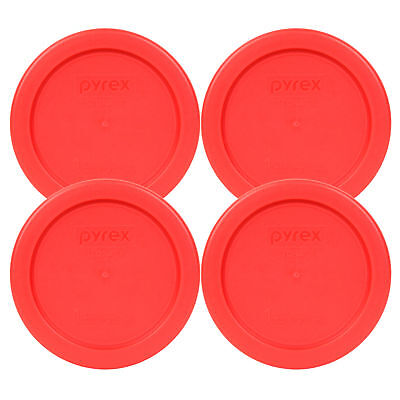 """Pyrex 4"""" Storage Plastic Red Lid Storage Cover 4 Pack For 1C Bowl Dish 7202-PC"""