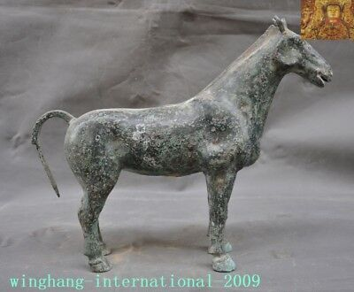 Ancient Chinese Dynasty Bronze Ware auspicious lucky Zodiac animal horse statue