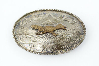 Vintage Sterling Silver Belt Buckle with Flying Duck