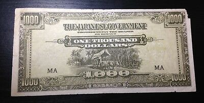 Malaya 1000 Dollars Japanese Occupation WWII