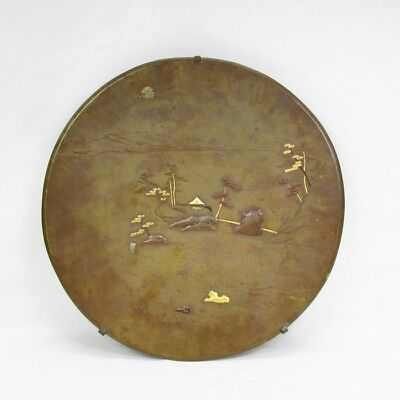 A977: Japanese copper ornamental plate of very good work of landscape with inlay