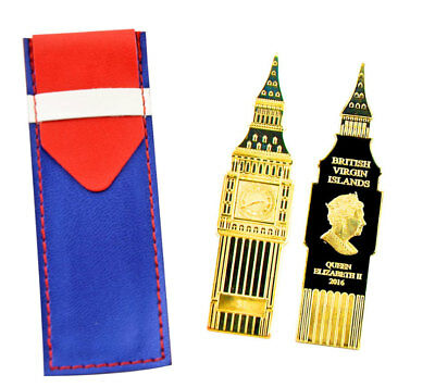 2016 Big Ben Clock Shaped $1 Coin Gold Plated Proof Coin In Leather Pouch
