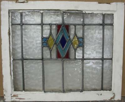 """OLD ENGLISH LEADED STAINED GLASS WINDOW Gorgeous Geometric Design 22"""" x 18.25"""""""