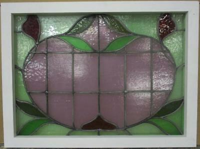 "MID SIZED OLD ENGLISH LEADED STAINED GLASS WINDOW Abstract Floral 27.5"" x 20.75"""