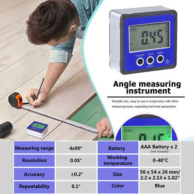 Mini Digital Protractor Inclinometer Level Box Angle Finder Bevel Blue Portable