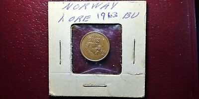 1963 Norway 1 Ore Coin - Norge Norwegian Auction NR Europe Nice Condition