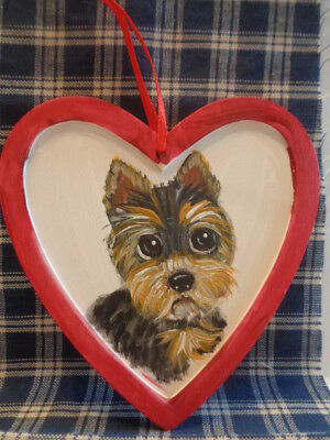 HAND PAINTED ART~~YORKSHIRE Terrier WOOD HEART HANGING DECORATION~~OOAK