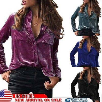 US Womens Velvet Turn-dowm Collar Long Sleeve Tops Blouse Formal OL Work T Shirt