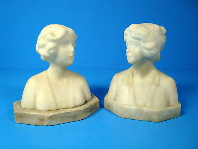 Vintage Pair Of Carved Stone Alabaster (?)  Women Bust Bookends