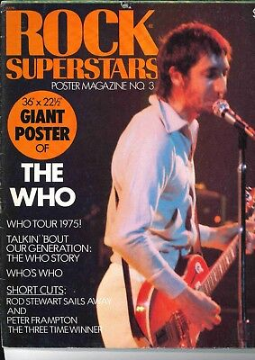 Rock Superstars Poster Magazine 1975 Who Peter Frampton Rod Stewart Who Tour 75