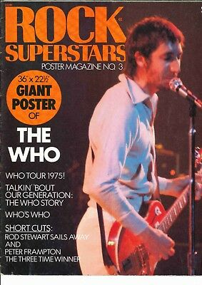 Rock Superstars Poster Magazine	1975 The Who Rod Stewart Peter Frampton RARE