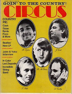Circus Magazine August 1969 Going To The Country Bob Dylan Johnny Cash Zeppelin