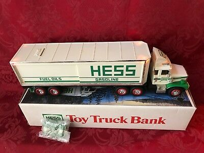 "1987 Hess ""toy Truck Bank"" With The Original Box-All Lights Tested And Work"