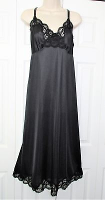 LANE BRYANT INTIMATES Silky Black Nylon & Lace Long FULL SLIP Plus Size 22 / 24