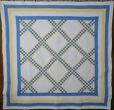 Glorious! Antique Blue & Yellow White Irish Chain QUILT Tiny Pieces Gift Quality