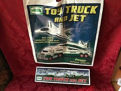 """2010 Hess """"TOY TRUCK AND JET"""" """"NEW IN BOX"""" WITH RARE """"ORIGINAL BAG"""""""