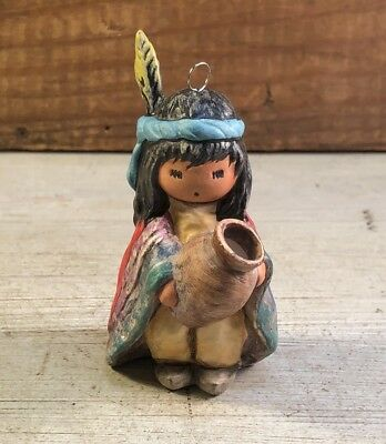 "DeGrazia Goebel Annual 1990 ""Indian Boy w/Pot"" Ornament 7th Ed. Signed"