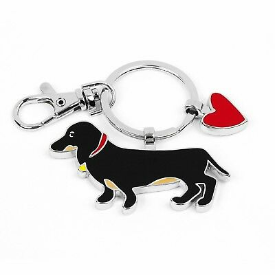 Dachsund Dog keychain Key with Red heart Gift w card for valentine by Tetro