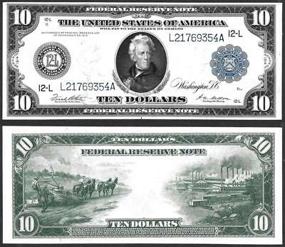 1914 $10 Federal Reserve ~ Large Size San Francisco ~ Crisp Uncirculated~