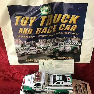 """2011 Hess """"toy Truck And Race Car""""-New In Box With Rare Original Bag-Mint"""