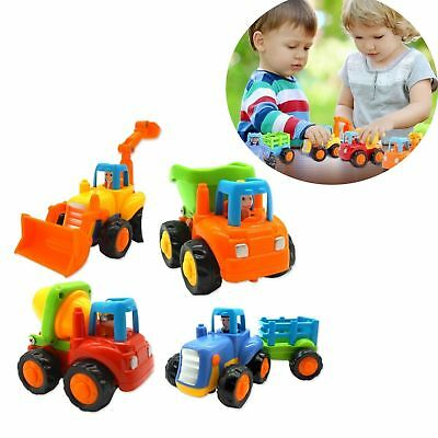 Friction Powered Toy Car Set of 4 Push and Go Construction Trucks Tractor Dozer
