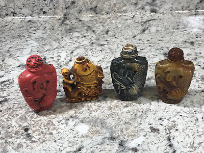 Lot of 4 Vtg Chinese Snuff Bottle Koi Fish Decorate Resin