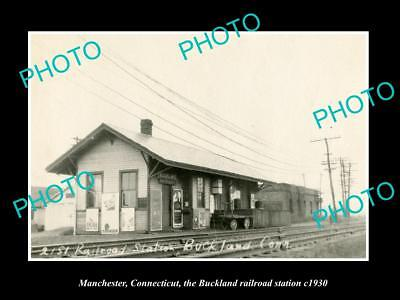 OLD LARGE HISTORIC PHOTO MANCHESTER CONNECTICUT, BUCKLAND RAILROAD STATION c1930