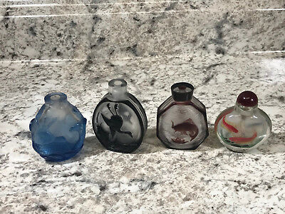 Lot of 4 Vtg Chinese Snuff Bottle Koi Fish Bird Turtle Decorate Glass