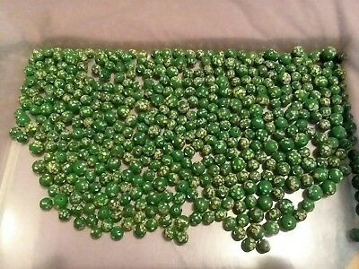 Huge Lot Of Vintage Green Millefiori Glass Beads With Tiny Flowers