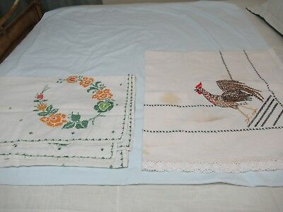 "(Ad 88) 2 Lot Vtg Tablecloths Handmade Embroidered Rooster & Flowers 62"" X 48"""