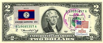 Us $2 Dollars 1976 First Day Stamp Cancel New York & Flag Of Belize Value $ 66.5