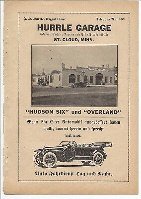 1917 HUDSON Hurrle Garage Automobile Ad in German Magazine