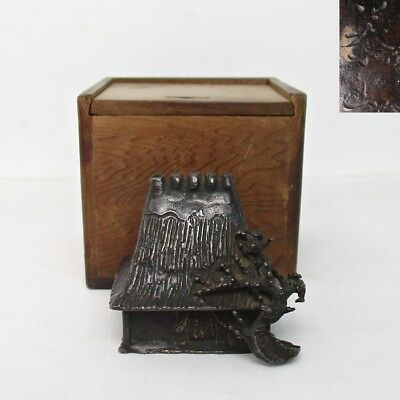 B536: Japanese old copper water pot for calligraphy of wonderful work with sign