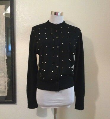 60s AMERICAN BEAUTY BLACK SOFT KNIT & FAUX PEARL TRIM FRONT BOMBSHELL CARDIGAN