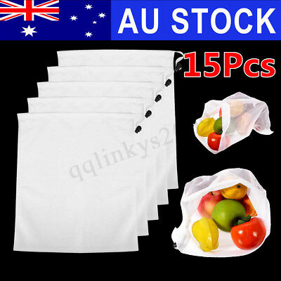 AU 15x Eco Friendly Reusable Mesh Produce Bags Superior Double-Stitched Strength