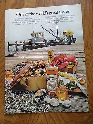 1973 Kentucky Old Forester Whiskey Ad One of the World's Great Tastes Fishing
