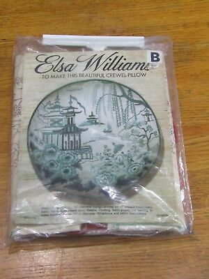 Vintage Elsa Williams Asian inspired crewel pillow kit in RUST color
