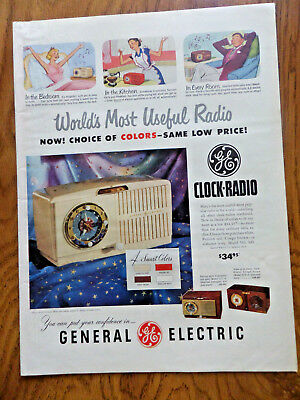 1950 GE General Electric Clock Radio Ad