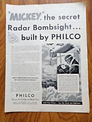 1945 Philco Radio Phonograph Ad WW II MICKEY Secret Radar Bombsight