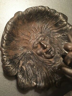 RARE Antique Judd ? Mfg Co  Cast Iron American Indian Head Chief Candle Holder