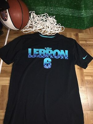 e70e14b88343 LeBron James LeBron six black blue Medium M Dri Fit Nike Shirt C3