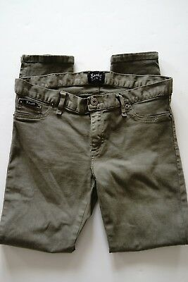 bardot skinny/low rise/cropped olive green jeans…size 12…see description...
