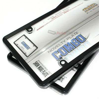 2 Black Plastic License Plate Frames + Clear Bubble Shields Cover for Car-Truck